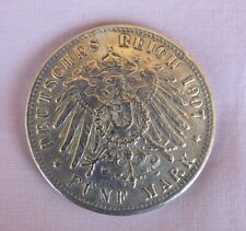 GERMAN 5 MARK SILVER COIN 1907 J HAMBURG DEUTSCHES REICH FUNF MARK