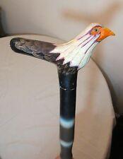vintage hand carved painted wood figural bald eagle bird walking stick cane