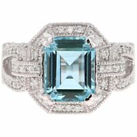 4ct Emerald Blue Aquamarine Engagement Ring Art Deco Cluster 14k White Gold Over