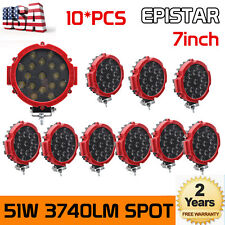 10X 7inch 51w Round LED Work Light Offroad Fog Driving Boat Jeep Bumper 4WD Thin