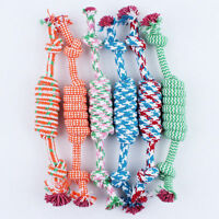 Random color Puppy Dog Pet Toy Cotton Braided Bone Rope Chew Knot Hot 30-35cm