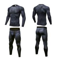Mens Compression Set Activewear Running Jogging Sport Top Training Gym Jersey