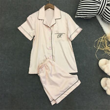 Womens Silk Satin Nightie Lingerie Sleepwear Pyjamas Set Short Sleeve Top Pant Pink M