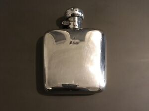 AWESOME antique Edwardian solid silver hip flask Birmingham 1919 Vintage RARE
