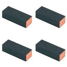 4 Pcs Black  Rectangle 4 Way  Buffer Sanding Block Nail File 4 GRADES -gray ends