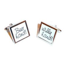 Black & White Beer Hand Willy Hand Cufflinks With Gift Pouch Funny Joke New