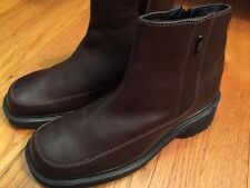 DR MARTENS Women's 6M Ankle Boots Brown Leather Side Zip Block Heel Shoes