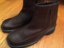 DR MARTENS Women's 6M Ankel Boots Brown Leather Side Zip Block Heel Shoes