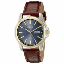 Seiko SNE102 Stainless Steel Solar Leather Strap Men's Watch