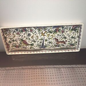 Vintage Estrela De Conimbriga Portugal Hand-Painted Tray Platter Signed