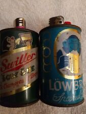 2Vtg Beer Can Miller Busch Cover Case Table Lighter Holder Barware Decor fit Bic