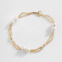 "Double Strand Japanese Akoya Saltwater Pearl Bracelet 18K Yellow Gold Chain 6.8"""
