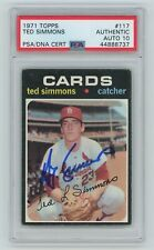 TED SIMMONS Signed 1971 Topps ROOKIE Card #117 - PSA Slabbed HOF Auto 10 #888737