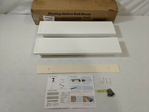 White Wooden Floating Shelves Crown Molding Wall Shelves Set of 2 - Open Box New