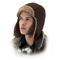 Adult Teen Aviator Pilot WWII Faux Leather Bomber Costume Helmet Hat Brown