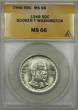 1946 Booker T Washington Silver Half-Dollar Coin 50C ANACS MS-66 (9A)