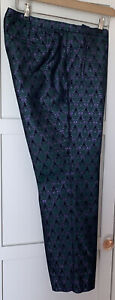 J Crew Stunning Green Brocade Cropped Trousers Size6 ( US Sizing)