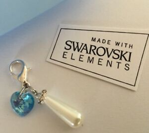 Gift For The Bride ..Swarvoski Elements Pearl Charm ..Something Blue In Gift Box