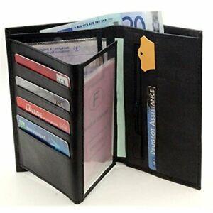 Portefeuille Homme Porte Carte Crédit Visite Monnaie En Cuir Synthétique Noir