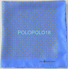 New Polo Ralph Lauren Silk Pocket Square Handkerchief Italy Light Blue