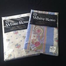 Vintage / Retro White Rose Sheets - Two Single Bed Sheets, Fitted And Flat - New