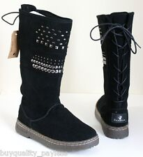 Bearpaw Silverthorne Tall Shearling Winter Boots Womens 7 Black NEW IN BOX