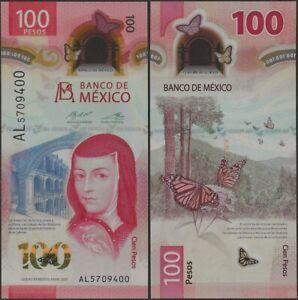 Mexico 100 Pesos Pnew 2020 B715 Polymer UNC AL Prefx IBNS Banknote of Year 2020