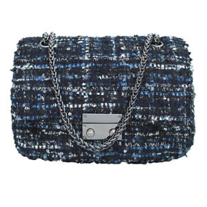 She Loves 2018 Tweed Fabric Plaid Embroidery Women Handbag Chains Bag Mini Coco
