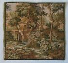 """French Tapestry Wall Hanging 10"""" x 10"""" Country House Water Wheel, Made in France"""