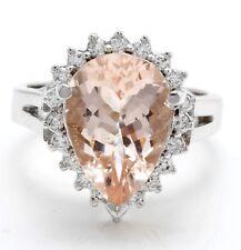 4.52 Carat Natural Peach Morganite & Diamonds in 14K Solid White Gold Women Ring