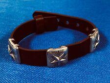 King Baby Studio Sterling Silver 3 Star Burgundy Leather Bracelet