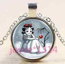 Vintage snow White Cabochon Tibetan silver Glass Chain Pendant Necklace #3370