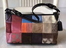 COACH Small Multi-Color Sued & Leather Patchwork Handbag Bag Shoulder 8J97 EUC!