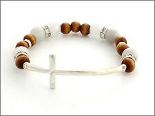 White and Wooden Beaded Stretch Bracelet w Silver Tone Curved Cross