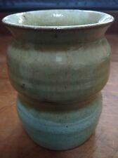 9.5cm Studio Pottery Vase / Brush Holder - lovely two colour green glaze