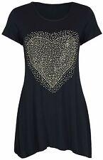 Donna Strass Cuore Manica Corta Lunga T-shirt nera top orlo TAGLIE FORTI