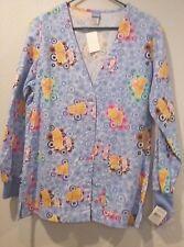 disney positively pooh & piglet scrub top 2 pockt long sleeves new/tags