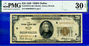 FR-1870-K - 1929 $20 National (( FRBN - Dallas)) PMG Very-Fine 30EPQ # K388581A-