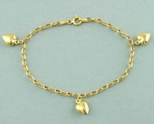 9ct Yellow Gold Belcher Chain Three Heart Charm Bracelet 18.5cm / 7.2 inch