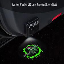 2x Green Skull Logo Car Door Wireless 7W LED Laser Projector Ghost Shadow Light