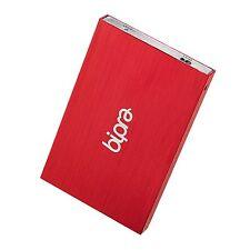 BIPRA 640Gb 2,5 POLLICI USB 2.0 FAT32 SLIM PORTATILE DISCO RIGIDO ESTERNO-ROSSO