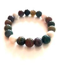 Handmade Natural Jasper Green Gemstone Beaded Stretch Bracelet