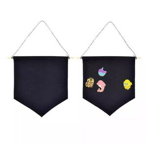 Black Canvas Enamel Pin Display Banner Pendants Brooches hanging pinbacks tac