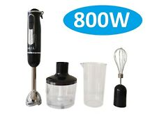 New 800W Stainless Steel Portable Stick Hand Blender Mixer Food Processor Set