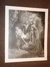 Incisione Gustave Dorè 1880 Bibbia La sepoltura di Gesù Bible Engraving