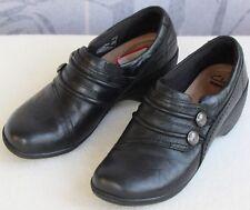 6.5 M   Clarks Women Black Leather Slip-On Low Ankle Bootie Wedge Heel Pump
