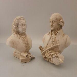Antique Mozart & Handal Chalk Bust