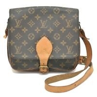 Authentic Louis Vuitton Monogram Shoulder Crossbody Bag Pochette Cartouchiere LV