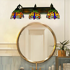 Wall Sconce Lamp Tiffany Style 3-Light Dragonfly Stained Glass Shade Wall Light