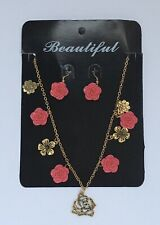 Beautiful Necklace and Earrings Pink Gold Plated Flowers New